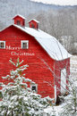 Merry Christmas Red Barn In Snow Royalty Free Stock Photos - 46977018
