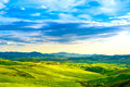 Tuscany, Rural Sunset Landscape. Countryside Farm, White Road An Royalty Free Stock Photography - 46978677