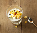 Brunch : Glass Of Home Made Yogurt With Cereals And Muesli. Royalty Free Stock Photography - 46985397