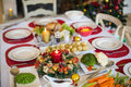 Table Set For Christmas Dinner Royalty Free Stock Image - 46993496