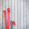 Red Blank Skis On Wooden Planks Wall, Winter Background Stock Photo - 47000380