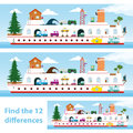 Kids Puzzle Ship To Spot The 12 Differences Stock Photography - 47004972