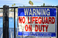 No Lifeguard On Duty Sign Stock Images - 47011294