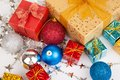 Close Up Of Christmas Tree Bauble ,ornament And Gift Box Stock Image - 47013591