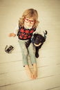 Hipster Kid And Dog Stock Images - 47018324