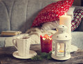 Still Life Interior Details, Cup Of Tea, Candles Near The Sofa Royalty Free Stock Photography - 47022967