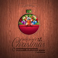 Engraved Merry Christmas And Happy New Year Typographic Design With Holiday Elements On Wood Texture Background. Royalty Free Stock Images - 47034439
