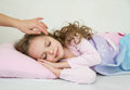 Adorable Little Girl Sleeping In Her Bed Stock Images - 47036504