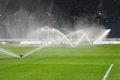 Watering Field At Halftime Of Match Photo Was Taken During The Between Fc Dnipro Dnipropetrovsk City And Fc Olimpik Donetsk City Royalty Free Stock Photography - 47036677