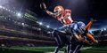 American Football Player In Action On Stadium Royalty Free Stock Photo - 47039195