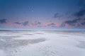Full Moon And Sunrise Sky Over Sand Beach Royalty Free Stock Photo - 47042855