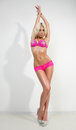 Blonde Sexy Woman In Pink Fashionable Lingerie Royalty Free Stock Image - 47048536