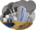 Polluting City With Fume Chimney Factory Plant Drain Waste Pipe Stock Photos - 47052853
