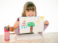 Proud Girl Shows His Picture Stock Photography - 47059002