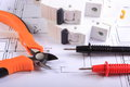 Cables Of Multimeter And Electric Fuse On Construction Drawing Stock Images - 47069994