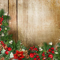 Christmas Wreath On Grunge Wood Texture With Holly,firtree,vísc Stock Images - 47070064