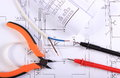Cables Of Multimeter, Pliers, Electric Wire And Construction Drawing Stock Images - 47070124