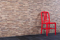 Old Recycled Steel Red Chair Vintage The Wall My Room. Royalty Free Stock Photos - 47071878