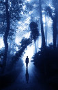 Man On Road In Foggy Forest Stock Images - 47076044