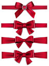 Satin Red Ribbons. Gift Bows. Royalty Free Stock Images - 47076169