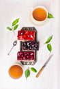 Composition Of Cakes With Different Fruit And A Cup Of Tea Royalty Free Stock Photo - 47078845