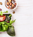 Salad Leaves And Olives On White Wooden Royalty Free Stock Photography - 47080557