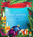 Christmas Ornaments On Blue Background Royalty Free Stock Photography - 47086627