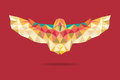 Barn Owl Flying Geometric Absract Red Background Royalty Free Stock Image - 47090746