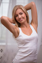 Beautiful Blond Girl Expresses Different Emotions Stock Photography - 47112122