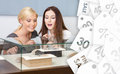 Two Women Looking At Showcase With Jewelry, Sale Labels Background Stock Photography - 47113762