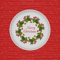 Christmas Seamless Card With Holly Wreath, Red Royalty Free Stock Photography - 47114427