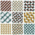 Set Of Multicolored Grate Seamless Patterns With Parallel Ribbon Royalty Free Stock Images - 47126879