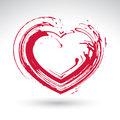 Hand Drawn Red Love Heart Icon, Brush Drawing Loving Heart Sign, Royalty Free Stock Photos - 47128698