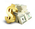 Dollar Sign Stacks Of Dollars Royalty Free Stock Images - 47138229