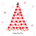 Happy New Year Greeting Card With Elephant And Snowflakes Royalty Free Stock Photos - 47142418