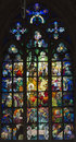 Stained Glass Window, St. Vitus Cathedral, Prague, Czech Republic Stock Images - 47146794