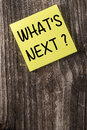 Whats Next Yellow Sticky Note Post It Royalty Free Stock Photo - 47147205