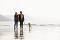Senior Couple Walking Along Winter Beach With Pet Dog Royalty Free Stock Images - 47147859