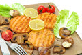 Roasted Salmon Medallions With Mushrooms And Vegetables Closeup Royalty Free Stock Photo - 47152835