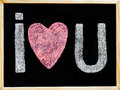 I Love You Message Hand Written With Chalk On Blackboard Stock Photos - 47153233