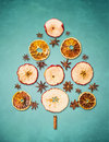 Dry Winter Fruits Christmas Tree On Blue Background Stock Image - 47158611
