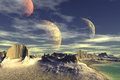 3D Rendered Fantasy Alien Planet. Rocks And Moon Royalty Free Stock Photo - 47162875
