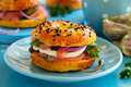 Bagels With Salmon Royalty Free Stock Photography - 47163557