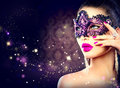 Sexy Woman Wearing Carnival Mask Royalty Free Stock Photo - 47165765