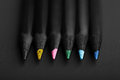 Black, Colored Pencils, On Black Background, Shallow Depth Of Fi Royalty Free Stock Photos - 47174828