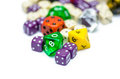 Multiple Colorful Role Playing Dices Lying On  Backgroun Stock Photography - 47179232
