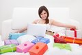 Young Woman Shopping Online Stock Photos - 47185883