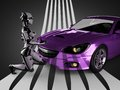 Luxury Brandless Sport Car And Woman Robot Royalty Free Stock Images - 47188299