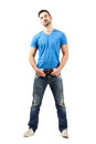 Proud Confident Man Standing Holding His Belt Royalty Free Stock Photography - 47190307