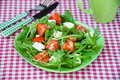 Greece Salad With Mozzarella, Ruccola And Tomatoes Royalty Free Stock Images - 47191089